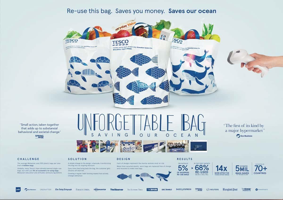 Unforgettable Bag ถุงรีไซเคิลใหม่จาก Tesco ที่ใช้จิตวิทยากระตุ้นให้คนอยากใช้ซ้ำ