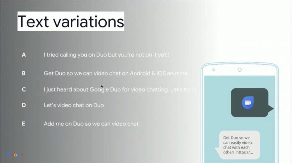 ux writer case study google duo sms invites