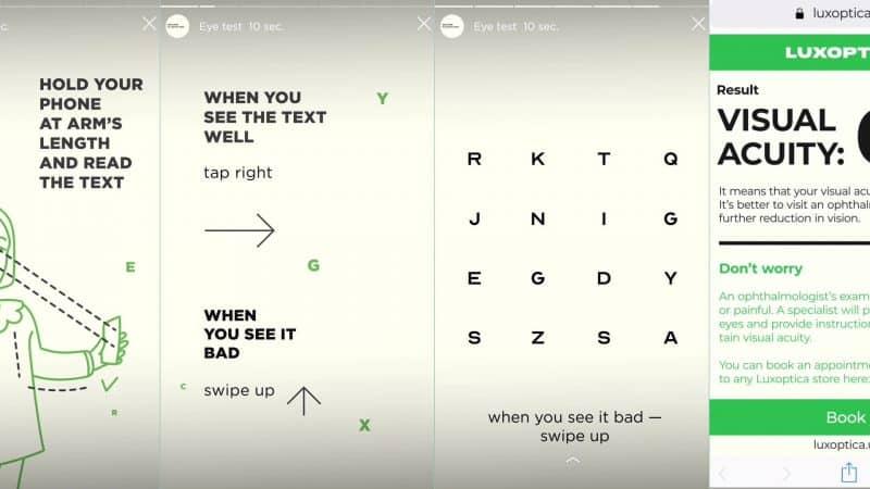 Instoptica ตรวจสายตาผ่าน Stories บน Instagram การตลาดของร้านขายแว่นตา Luxoptica
