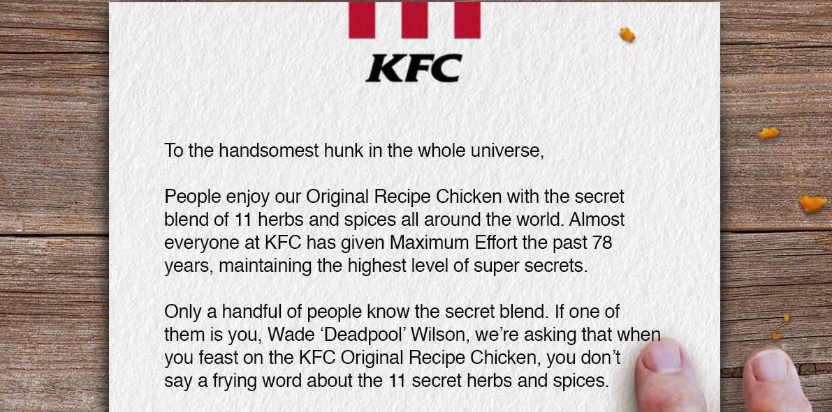 KFC ส่งจดหมายเตือน Deadpool สปอยหนังได้ แต่อย่ามาสปอยสูตรไก่ตัวเอง