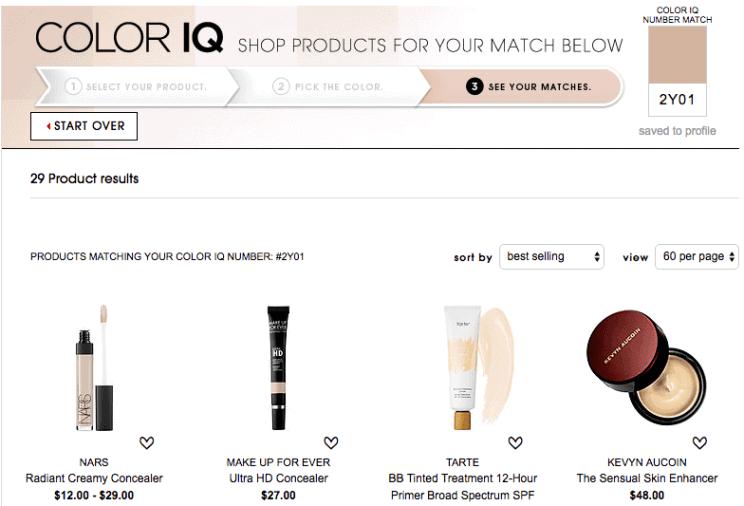 Product Recommendation ตามผลจาก ColorIQ Test