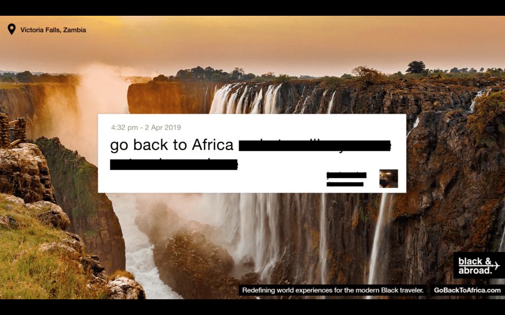 จับคำแบบ Real time บน Twitter แล้วเปลี่ยนให้เป็นภาพโฆษณาสวยงาม Go Back To Africa