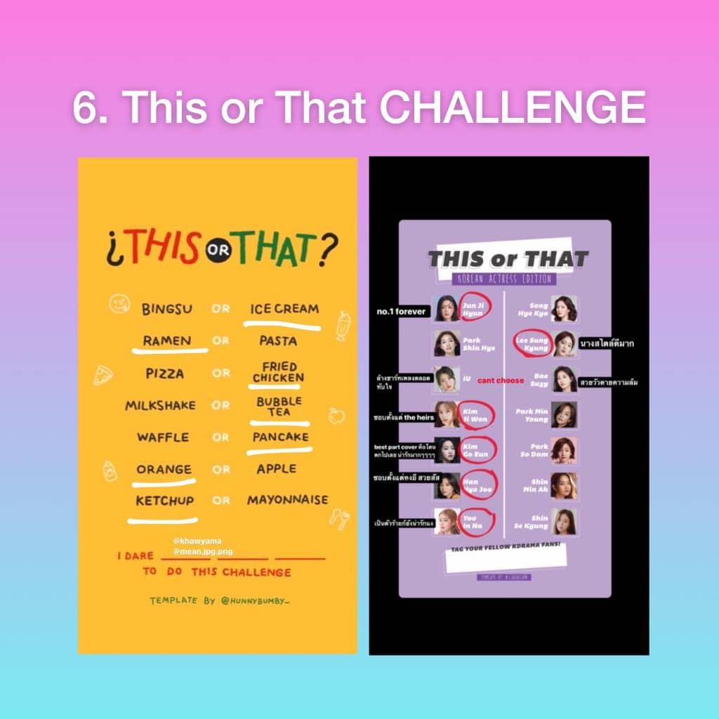 This or That Challenge Template