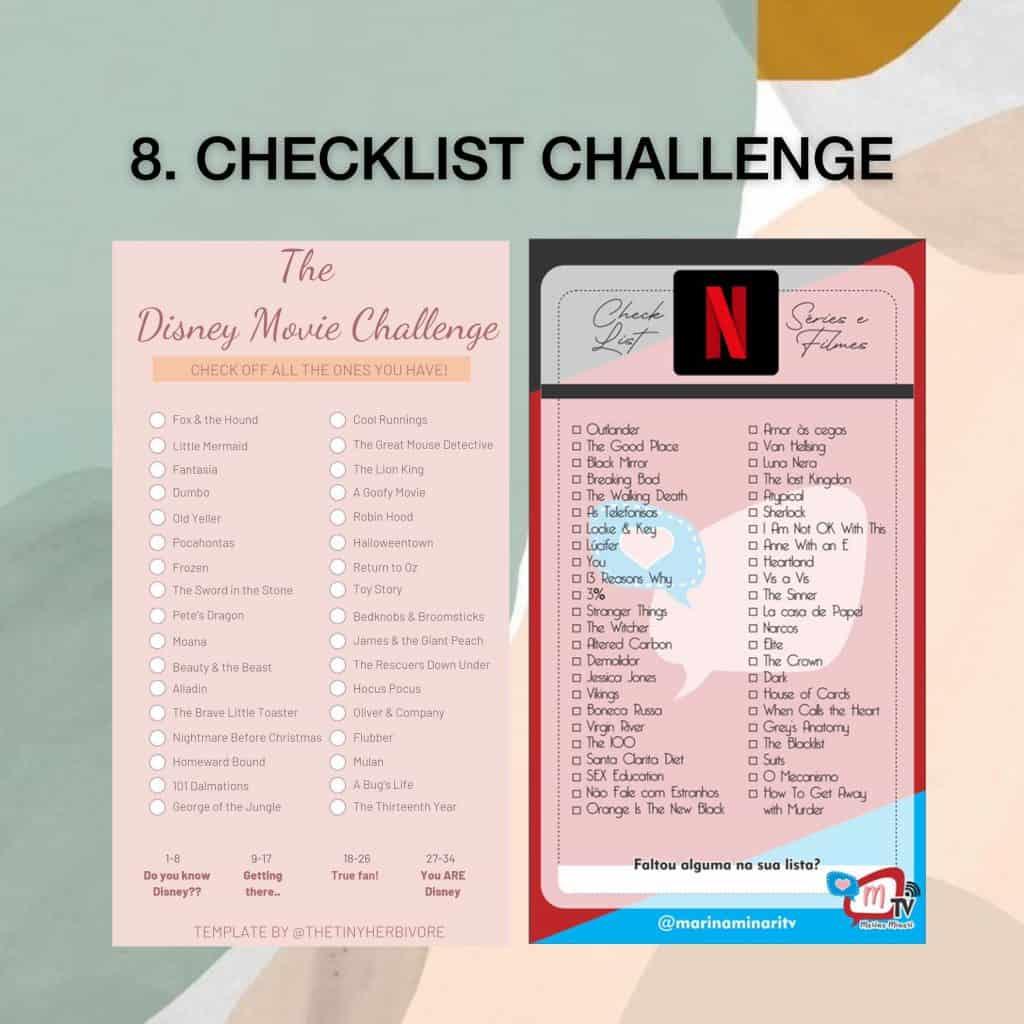 Checklist IG story challenge template Disney and Netflix