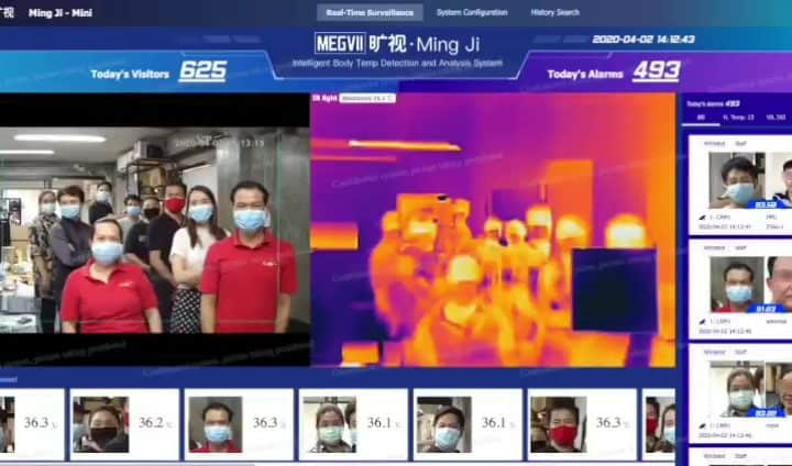 AI จาก Megvii ตรวจวัดอุณหภูมิสกัด COVID-19 ก่อนเข้าตึกที่รวดเร็วและปลอดภัย
