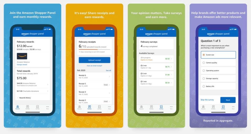Data การซื้อของแลกเป็นเงิน Amazon Shopper Panel App