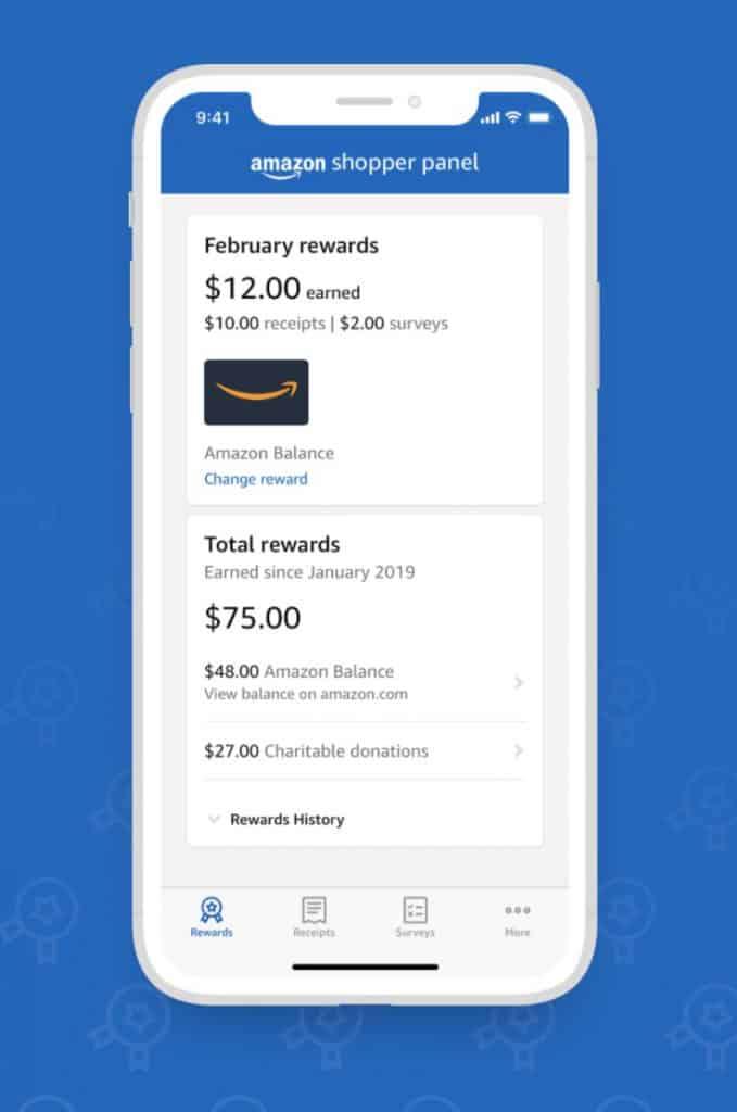 Data การซื้อของ แลกเป็นเงินใน Amazon Shopper Panel App, reward page
