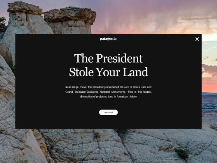 Brand Democracy แบรนด์กับการเมือง เมื่อ Trump ประกาศเปิดป่าสงวนแห่งชาติ Patagonia จึงยื่นฟ้องด้วยแคมเปญ The President Stole your land