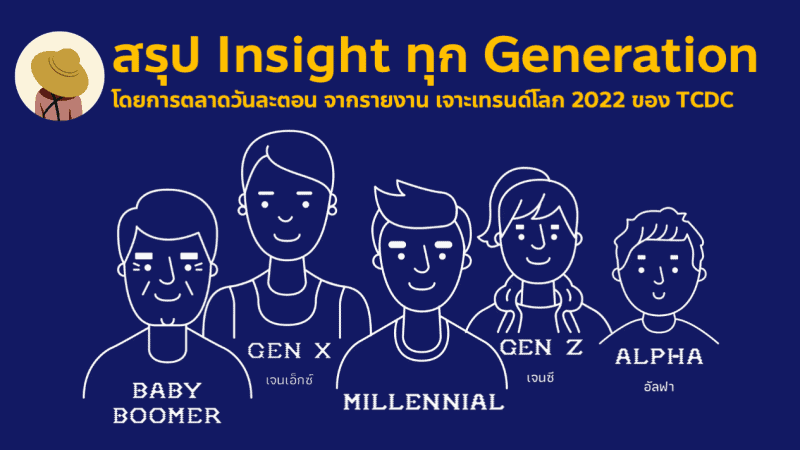 สรุปเจาะลึก Insight ทุก Generation 2022 ตั้งแต่ Baby Boomer Gen X Millennials หรือ Gen Y Gen Z และ Alpha จากรายงานเจาะเทรนด์โลก 2022 TCDC